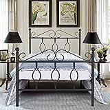 Aingoo Cama Individual con Estructura de Cama de Metal con tablillas, Dormitorio para Adultos (Negro, 90_x_190_cm)