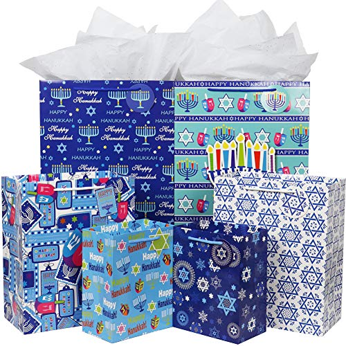Hanukkah Gift Bag Set, Fzopo 12 Pieces Premium Quality Assorted Sizes Paper Bags with Tags, 4 Extra Large, 4 Large, 4 Medium (6 Happy Hanukkah Designs)