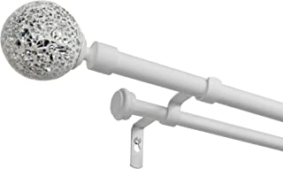 Exclusive Home Curtains White Mosaic Double Curtain Rod and Finial Set, 36-72, Gunmetal