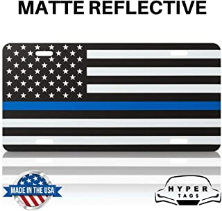 Hyper Tags | The Original Reflective American Flag License Plate (Thin Blue Line)