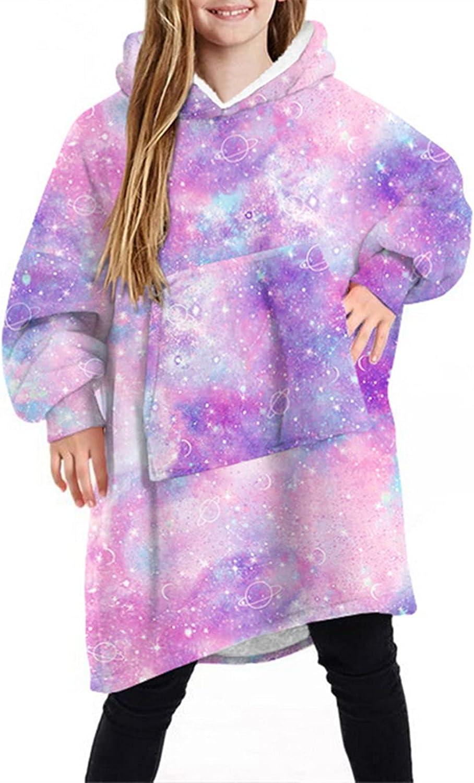 Kids Oversized Wearable Blanket Sweatshirt Fluffy Trust Long-awaited Hooded Snuggle