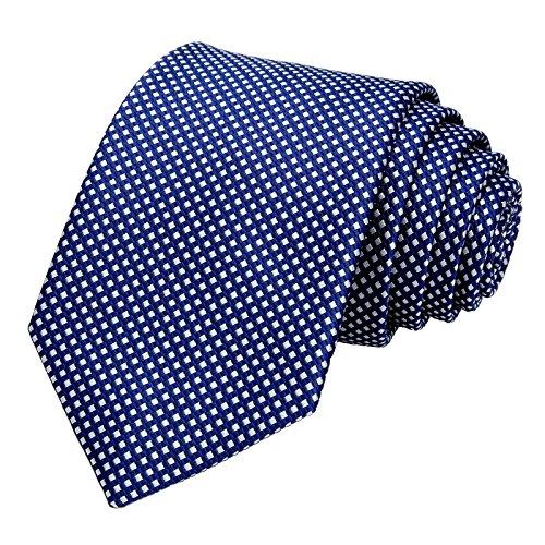 GASSANI Schmale Herren-Krawatte Dunkel-Blaue Weisse Vichy Karo-Muster, Skinny Slim Dünne Karierte Hochzeitskrawatte Herrenschlips, Moderne Breite 7cm