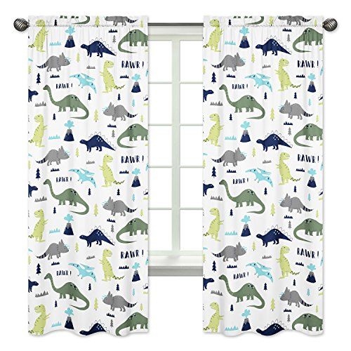 Sweet Jojo Designs 2-Piece Blue and Green Modern Dinosaur Bedroom Decor Window Treatment Panels