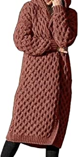 Women's Solid Color Long Cardigan Long Sleeve with Hooded Open Front Casual Knitted Sweaters Coat