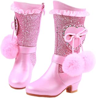 duduxiaomaibu Girl's Waterproof Lace Bowknot Side Zipper Fur Lined Tall Winter Boots (Toddler/Little Kid/Big Kid)