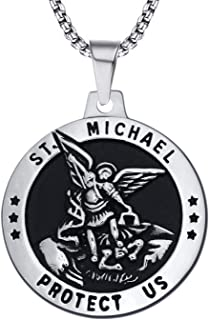 St Michael Necklace Vintage Stainless Steel The Archangel Pendant with Chain