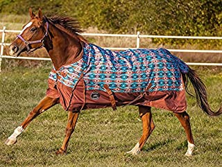 Chicks Saddlery Showman Orange/Turquoise Southwest 1200 Denier Waterproof Turnout Sheet - Horse