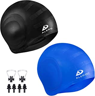 2 Pack Unisex Swim Caps with 3D Ear Protection, Durable...