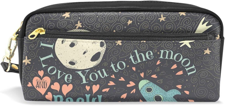 Federmäppchen I Love You To The Moon and Back , bedruckt, Reisetasche, Make-up-Tasche mit großer Kapazität, wasserdicht, Leder, 2 Fächer, ideales Halloween-Geschenk für Kinder Mädchen Jungen B07NZM1NGQ | Online-Exportgeschäf