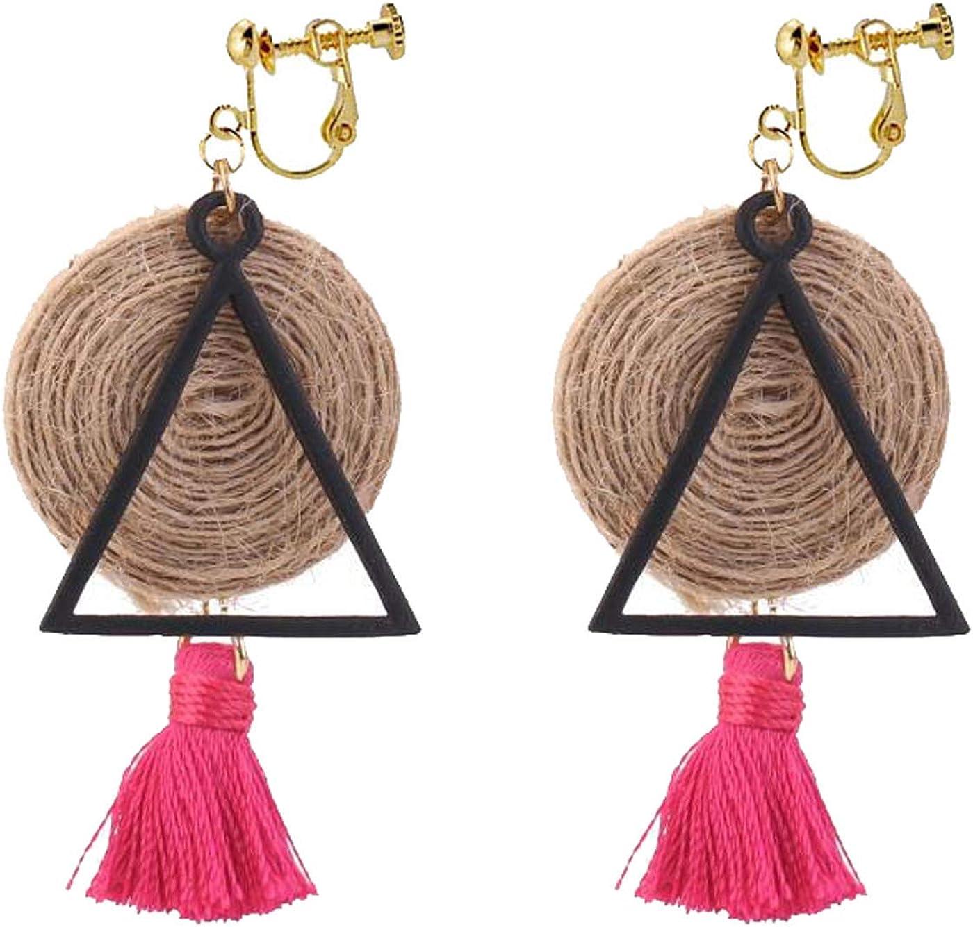 Retro Clip on Earrings Bohemian Earrings for Women Girls Handmade Straw Braid Dangle Drop Silk Tassel Vintage Statement