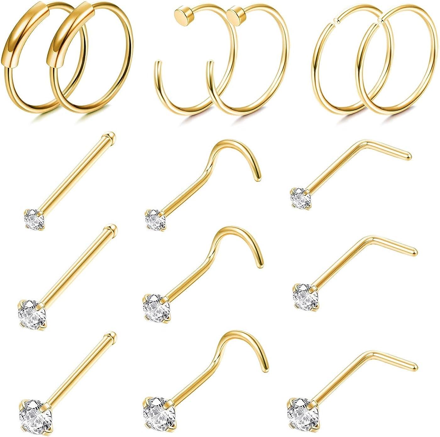 FINREZIO 15PCS 22G Surgical Steel Nose Rings Hoop Studs Cartilage Earrings Body Piercing Jewelry 1.5mm 2mm 2.5mm CZ