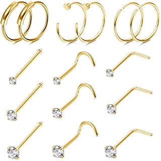Finrezio 15PCS 22G Surgical Steel Nose Rings Hoop Studs Cartilage Earrings Body Piercing Jewelry 1.5mm 2mm 2.5mm CZ