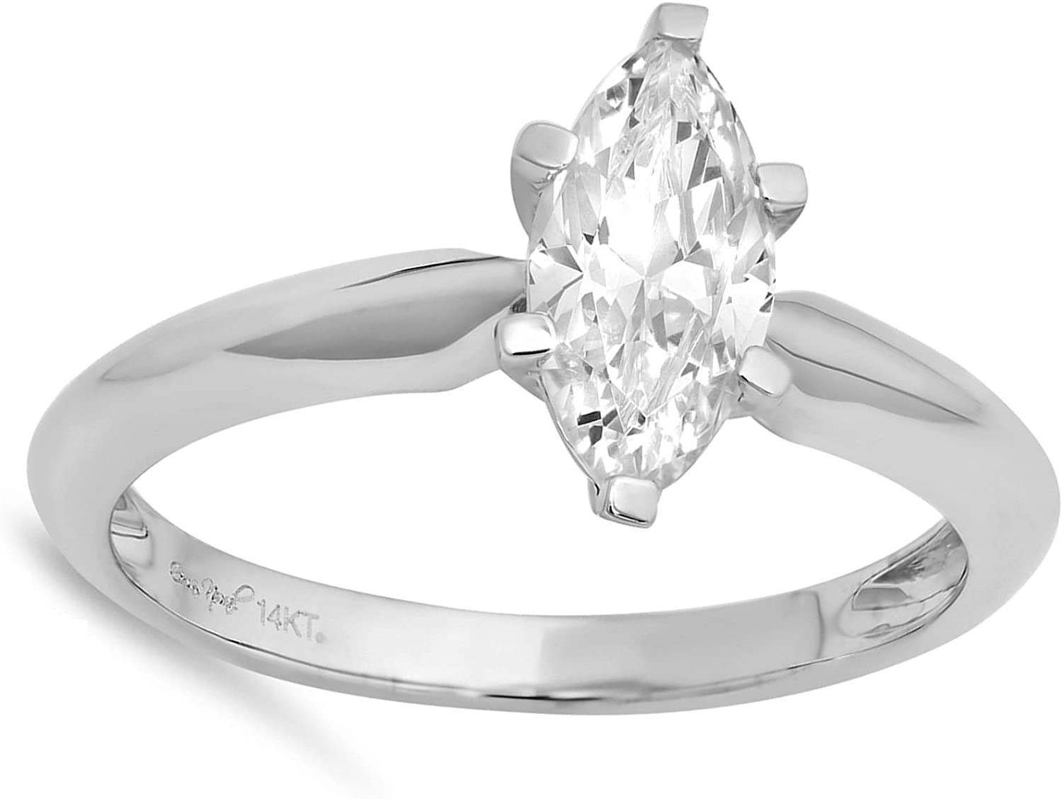 0.9ct Brilliant Marquise Cut Solitaire Stunning Genuine Lab Created White Sapphire Ideal VVS1 D 6-Prong Engagement Wedding Bridal Promise Anniversary Ring Solid 14k White Gold for Women
