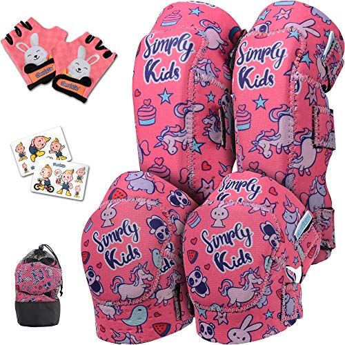 Elbow and Knee Pads for Kids with Bike Gloves | Toddle Protective Gear Set | Kids Knee and Elbow Pads | Kids Knee Pads | Roller-Skating, Skateboard, Balance Bike for Children Boys Girls (Unicorn, 2-4)