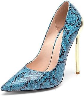 Mujer esPiel Zapatos De Amazon Para Serpiente Tacón qMLzGVSjUp