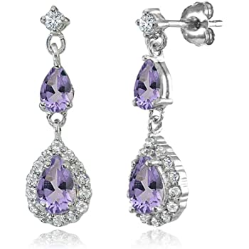 Amethyst /& White Topaz Stone 925 Sterling Silver Halo Cluster DropDangle Earring