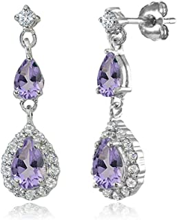 Sterling Silver Genuine, Created or Simulated Gemstone and White Topaz Fashion Teardrop Dangle Earrings for Teens Girls