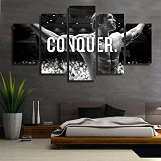 HD Print 5 Piece Canvas Art Arnold Schwarzenegger Conquer Black White Painting Poster Living Room Home Decorations (A: Framed B: no Frame)