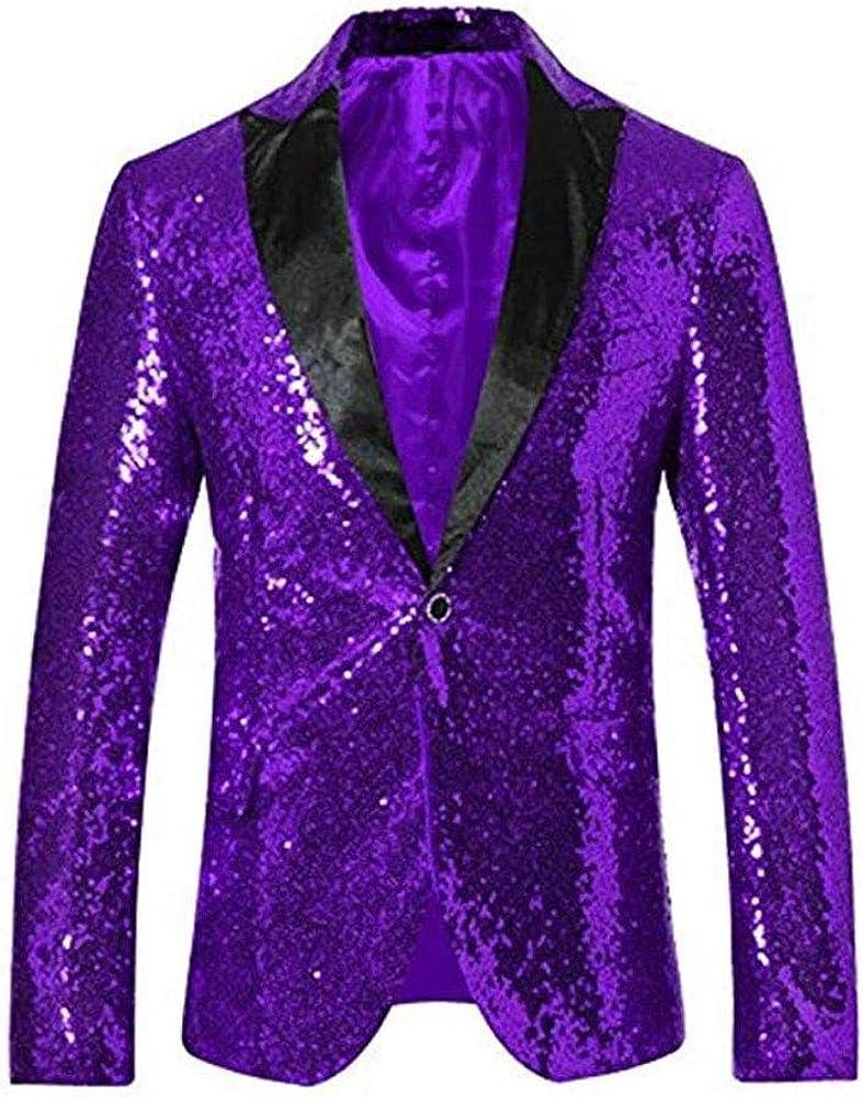 Men's Purple Sequined Nightclub Tuxedo One Button Blazer Jacket Wedding Coat Purple 48 Chest / 42 Waist