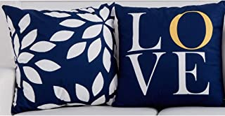 "BJYHIYH Blue Throw Pillow Covers 18""x18""Soft Polyester Decorative Pillow Covers for Couch Bed Pillowcases Set of 2"