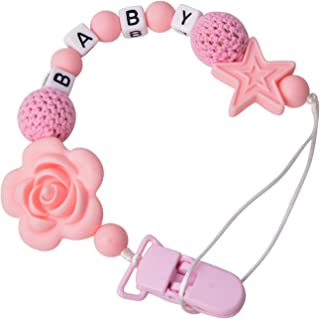 Pacifier Clip Universal Silicone Teething Beads Binky Teether Holder Leash for Boy Girl fits All Baby Teething Toys or Soo...