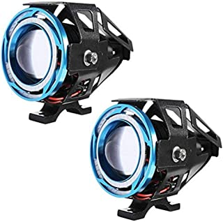 AllExtreme EXU11L2 U11 CREE LED Fog Light Universal Waterproof Projector Lamp with Dual Ring for Car, Motorcycle and Bikes (15W, Red & Blue Angel Eyes, 3000LM, 2 PCS)