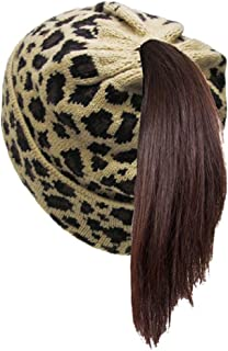 KB Soft Stretch Cable Knit High Bun Ponytail Beanie Hat Cheetah Leopard