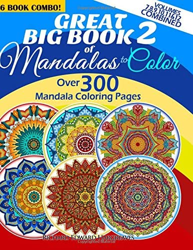 Great Big Book 2 Of Mandalas To Color Over 300 Mandala Coloring Pages Vol 7 8 9 10 11 12 Combined product image