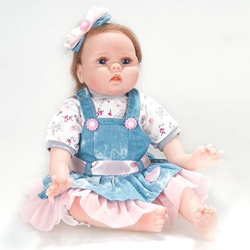 QXMEI Simulation Reborn Baby Puppe Spielzeug 22 Zoll   55cm mädchen Voll Silikon Neugeborenes Frühes Lernen Spielzeug Geschenk