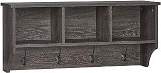 RiverRidge Home Woodbury Collection Cubbies and Hooks Wall Shelf, Dark Weathered Woodgrain