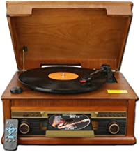 Bluetooth Record Player & Multimedia Center, Built-in Stereo Speakers - Turntable, Vinyl Recording,Wireless Music Streaming