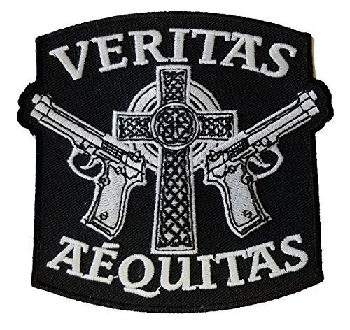 Aequitas Veritas Saints Gun Celtic Cross - Novelty Iron On Patch Applique
