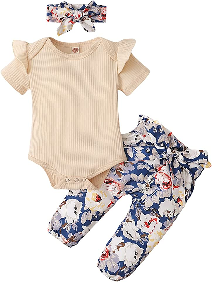 Newborn Infant Baby Girl Clothes Outfits Infant Romper Floral Pants Cute Toddler Baby Girl Gift Set 3 PCS