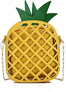 Hamkaw Pineapple Crossbody Bag Cell Phone Cute Cartoon Purse Wallet Bags with Shoulder Strap for Womens Girls