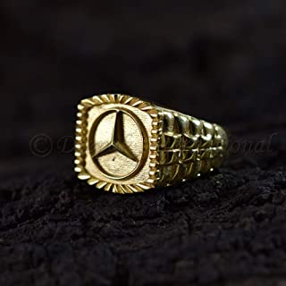Latest Design 3D Mercedes Benz Logo Ring Sterling Silver Yellow Gold 925 Sterling Solid Silver Ring Rolex Band Style Engrave Band Ring Handmade Jewellery