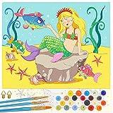 Emooqi Pintar por Números Niños, DIY Paint by Numbers Kits de Pintura Numeros con Lienzo, Cuadros por Numeros, Pinceles y Pinturas Acrílicas para Decoración Hogar, Sin Marco, 47 x 57cm (Sirena)