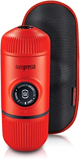 Wacaco Nanopresso Portable Espresso Maker Bundled with Protective Case, Upgrade Version of Minipresso, Mini Travel Coffee Machine, Perfect for Camping, Travel and Office(New Elements Lava Red)