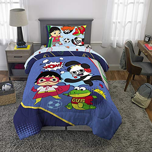 RW Transform Your Child's Room Into a Fun and Adventurous Resting Place with Super Cute,Soft and Playful Ryan's World Bed in a Bag,Kids Bedding Set,Ryan's Best,Blue/Multicolor,Full