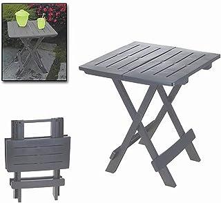 Mesa Plegable Adige Gris, Mesa Auxiliar Plegable Antracita, Mesa para Jardín o de Camping, 43x45x50cm - Hogar y Más
