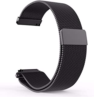 Milanese Loop 20mm for Samsung Galaxy Watch 42mm, Samsung Galaxy Watch Active, Samsung Gear Sport, Samsung Gear S4 / S2, Stainless Steel Replacement Watch Band 20mm (Black)