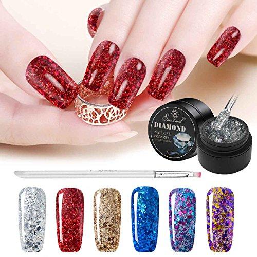 Saviland - Esmalte de uñas de gel con purpurina en 6 colores y pincel, juego de pintauñas permanentes con brillo, color rojo, plateado, azul, morado
