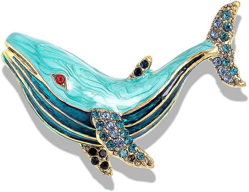 DAWEIF Ocean Whale Animal Brooch Vintage Classic Rhinestone Scarf Clip Winter Coat Accessories Women Girls Gift(Blue)