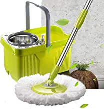 JSZMD Stainless Steel Dual Drive Rotary Hand Pressure Mop Free Hand Drying Wet and Dry Household Absorbent Mop Easy to Clean