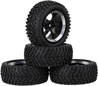 Mxfans Black Aluminum Alloy 5-Spoke Wheel Rims Black Beard Pattern Rubber Tyre RC 1:10 On Road Car Pack of 4