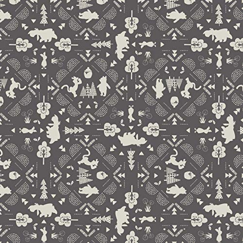 Disney Winnie The Pooh Fabric Wonder and Whimsy Silhouette Lace in Gray Premium Quality Cotton Fabric by The Yard