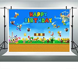 Video Game Happy Birthday Photography Backdrop for Super Mario Bros Party, 9x6FT, Mushroom Coin Background for Kids Children Baby Cake Table Banner, Photo Booth Props DSLU233