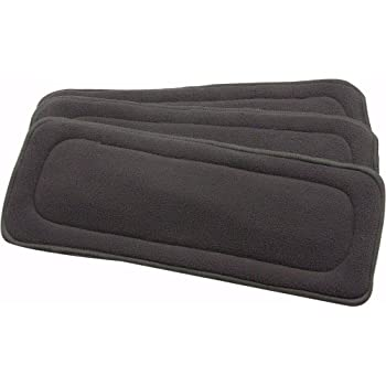Premium Quality,Soft, Washable, Reusable, Wet Free Baby Bamboo Charcoal Inserts for Cloth Diapers - 5 Layered - Set of 3