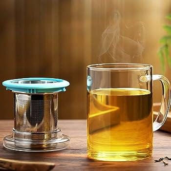 耐熱ガラスマグカップ 400ml 高品質で丈夫なステンレス鋼茶こし 透明なガラスふた 付き 持ちやすい (ブルー, 400ML)
