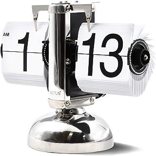 Betus Reloj de estantería de Escritorio Estilo Retro - Pantalla Digital mecánica clásica con batería - Decoración para el hogar y la Oficina 8 x 6.5 x 3 Pulgadas (Blanco)