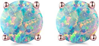 Rose Gold Plated Opal Stud Earrings 8MM Round For Women